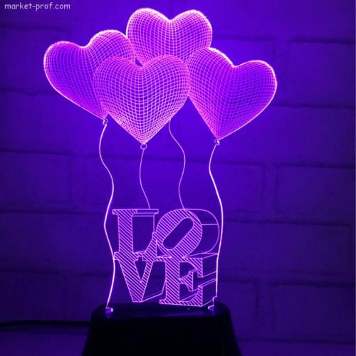 3д светильник Шарики  Love